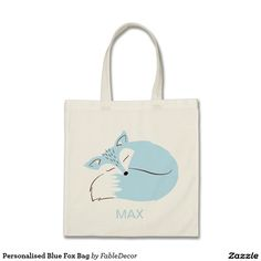 Personalised Blue Fox Bag! The cutest baby shower gift. Simple and classic. Each bag van be filled with baby goodies and given as the perfect baby shower gift. Get one now!