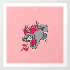 Panther Flame by @lostanaw #artprint #inspiration #motivation #gym #girly #tattoo #ineed #tattooidea #flames #eyes #pink #shopping
