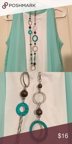 Long Boho Necklace Turquoise, silver, and brown wooden bead necklace. Super trendy. Jewelry Necklaces