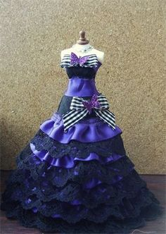 1/12th scale black and purple satin and lace waterfall gown.
