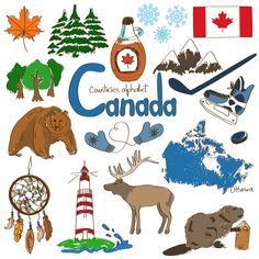 Fun colorful sketch collection of Canada icons countries alphabet Stock Vector Canada Day, Canada For Kids, All About Canada, Toronto Canada, Geography For Kids, World Geography, Geography Of Canada, Canadian Culture, Canadian History