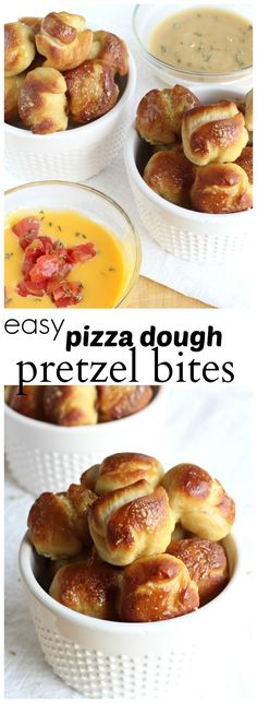 <Super easy pretzel bites made with pizza dough. The kids can help with this deli. Super easy pretzel bites made with pizza dough. The kids can help with this delicious snack! Perfect for family movie night. Snacks Für Party, Easy Snacks, Yummy Snacks, Healthy Snacks, Yummy Food, Snacks Kids, Tasty, Party Games, Appetizer Recipes
