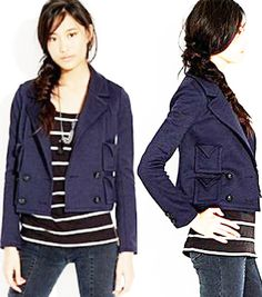 ALEXA CHUNG MADEWELL Jacket Navy Blue Blazer Diana Cropped PeaCoat Wool J CREW L #Madewell #BasicJacket