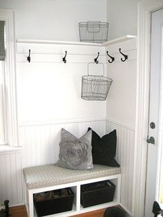 mudroom-i-ness - the corner we want to do in our laundry/entry room is small so I would love this!, or something like this, simple but super functional