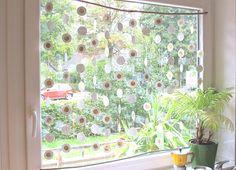 Upcycling DIY Recycling Selbermachen Basteln Crafting Küchenfenster Gardine Fensterdeko Deko Sichtschutz
