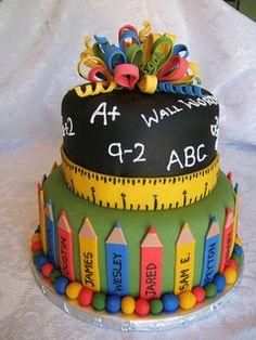 Farewell to Grade Cake School Cake Fancy Cakes, Cute Cakes, Pretty Cakes, Fondant Cakes, Cupcake Cakes, Teacher Cakes, Cakes For Teachers, Birthday Cake For Teacher, Thomas Birthday Cakes