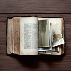 I want my Bible to look like this someday - worn, used, read, and full of pictures/letters of my journey.