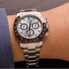 Rolex Cosmograph Daytona In Platinum Reference 116506 with a blue dial and a brown Cerachrom bezel. #Rolex by shreveco