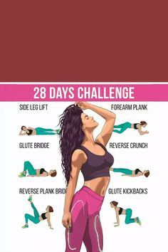 Glute Challenge, 28 Day Challenge, Lower Belly Workout, Lose Lower Belly Fat, Gym Workout Plan For Women, 7 Day Workout Plan, Fitness Herausforderungen, Senior Fitness, Zumba Workout Videos