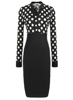 S xxl 2016夏ポルカ ドット ol仕事オフィス ドレス衣装の 、女性長袖作業スーツ鉛筆ビジネス ドレス