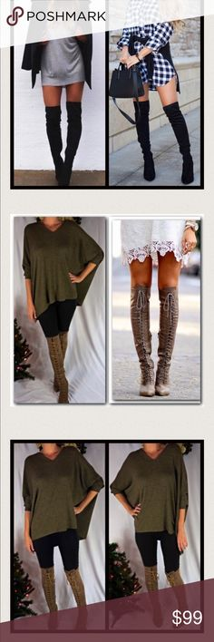 Reserved Black over the knee boots-Size 6 Lace up boots-Size 6 Poncho Sweater-Size XS/S Total=$110-10%(11)=$99 Shoes Over the Knee Boots