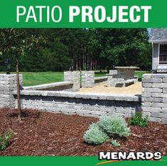 Create the backyard of your dreams! This backyard project includes patio blocks, walls, pillars and a bar. With it's unique combination of different elements, you'll have a backyard patio that's ideal for relaxing or entertaining. Backyard Projects, Backyard Patio, Patio Blocks, Landscape Materials, Building Materials, Landscaping, Relax, Walls, Entertaining