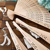 Folding Sandalwood hand fan favors personalized with custom printed stickers
