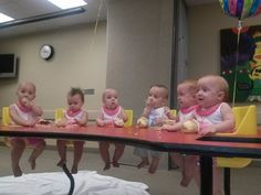 Happy Birthday times 6. The Carroll sextuplets celebrated their first birthday Saturday at Brookwood Women's Medical Center complete with love, attention and their own cupcakes. Abbie, Brook, Chloe, David, Ellie and Faith enjoyed the loving arms of friends and family before they were seated at a table to munch on with cupcakes bearing their names.