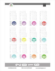 free year at a glance calendar