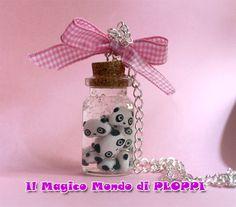 FIMO Tarepanda in jar necklace by MagicoMondoDiPLOPPI