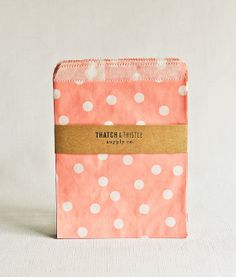 Paper Bags in Baby Pink Polka Dots - Set of 20 - 5x7 Party Favor Kraft Gift Wrapping Invitations Packaging Embellishment Sacks Merchandise