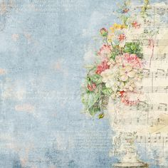Blue background with music and roses