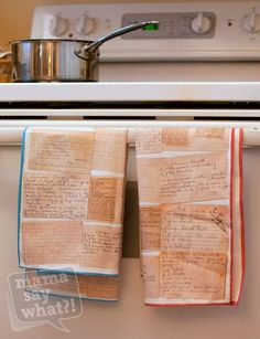 Love love love these tea towels made from old family recipe cards. What a great way to feel connected to my far-away grandmother, whose dinners are my ultimate comfort food.