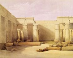 David Roberts RA (1796 – 1864) was a Scottish painter. He is especially known for a prolific series of detailed lithograph prints of Egypt and the Near East that he produced from sketches he made during long tours of the region (1838–1840). These, and his large oil paintings of similar subjects, made him a prominent Orientalist painter. He was elected as a Royal Academician in 1841.