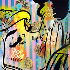 Original pop art/graffiti style painting on canvas. Mixed media using spray paint, enamel paint, hand cut stencils and vintage comics.