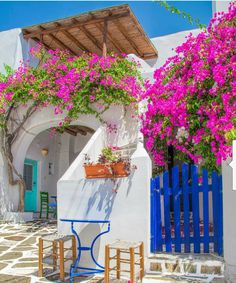 Traditional white houses, splashes of color on doors and shutters and colorful bougainvilleas in white-washed alleys, compose the setting of your dreams! Beautiful Islands, Beautiful World, Beautiful Places, Greece Fashion, Paros Greece, Paros Island, Greek House, White Houses, Greek Islands