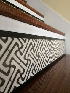 Stair Risers from Tribute Designs on Etsy install easily over your existing stair riser. A great alternative to vinyl decals if your existing stairs are too damaged (decals need a flat surface to stick to). Visit the shop today to see the latest designs, www.tributedesigns.etsy.com