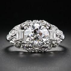 2.42 Carat Platinum and Diamond Engagement Art Deco Ring - Vintage Engagement Rings