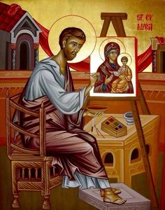 St Luke painting an Icon of the Mother of God Religious Images, Religious Icons, Religious Art, Byzantine Icons, Byzantine Art, Luke The Evangelist, Greek Icons, Roman Church, Jesus Painting