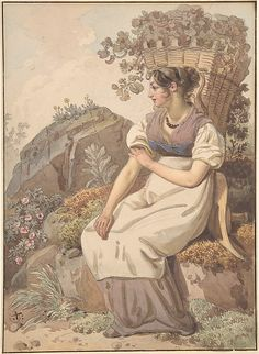 Wolfgang Adam Töpffer (Swiss, 1766–1847). Young Woman in the Vaudois after the Grape Harvest, 1821.The Metropolitan Museum of Art, New York.  The Elisha Whittelsey Collection, The Elisha Whittelsey Fund, 2008 (2008.53)