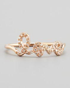 14k Yellow Gold Diamond Love Script Ring by Sydney Evan at Bergdorf Goodman.