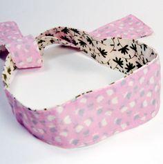 Tie Headband Hair Scarf - Reversible - Pink & Green