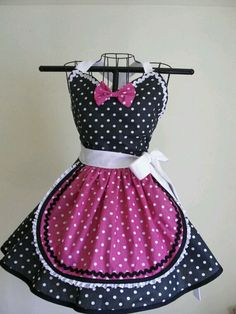 Retro Apron French Maid Apron Pin-up Black and White Hot Pink Polka Dots Flirty Skirt Sweetheart Nec Retro Apron, Aprons Vintage, Pin Up Preto, French Maid Costume, Apron Designs, Cute Aprons, Sewing Aprons, Pink Polka Dots, Lolita Dress