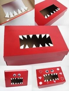 Here's an indoor craft for the kids when sledding outside get's too cold.  You can get them set up for Valentine's Day by creating a box to hold all their Valentine's cards.  Just use an empty kleenex box.  Add googly eyes, construction paper teeth, and heart stickers.  Decorate it however you feel!  Now your kids have a box to hold all the Valentine's they get at school!
