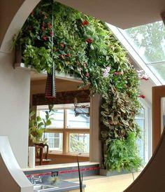 Grüner vertikaler Garten im Innenraum - stilvoll und elegant