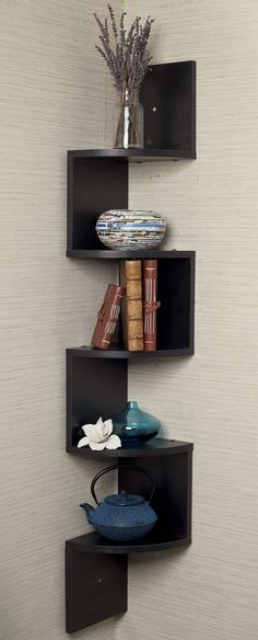 Black corner zig zag wall shelf // Clever! Need!