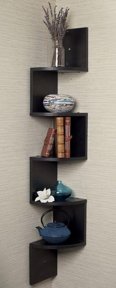 Black corner zig zag wall shelf // Clever! Need!