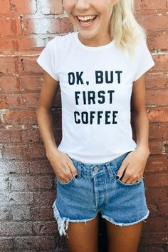 Brandy ♥ Melville | Mason But First Coffee Top - Graphics