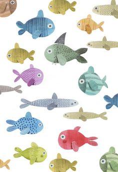 Very fishy ★ iPhone wallpaper Fish Illustration, Pattern Illustration, Deco Retro, Pretty Patterns, Fish Art, Pattern Wallpaper, Textures Patterns, Illustrators, Art For Kids