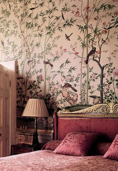 The Leicester Room at Chatsworth, with 1830s Chinoiserie paper on the walls.