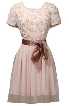 How retro and cute is this?! - Pink Short Sleeve Flowers Embellished Belt Dress - Sheinside.com