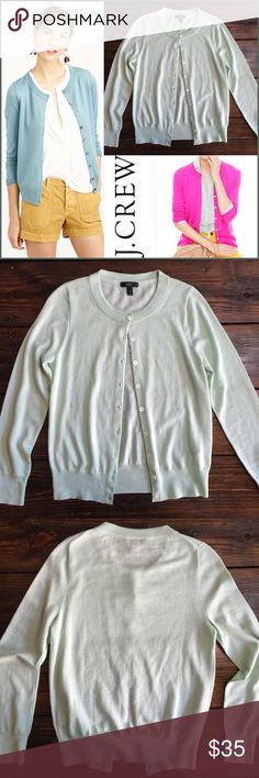 J. Crew Aqua Merino wool button up cardi In like new condition 100% merino wool.  It's super soft and light weight! J. Crew Sweaters Cardigans
