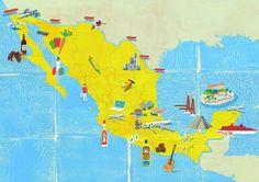 A map of Mexico. 今までで唯一のMonocleの仕事でメキシコ地図を描いた#illustration #illustrator #mexicocity #map #mexico  #yellow #tatsurokiuchi #monocle #monoclemagazine