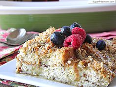 Overnight Cinnamon Crumble Baked French Toast: [Gluten, Sugar & Dairy Free] |SugarFreeMom.com