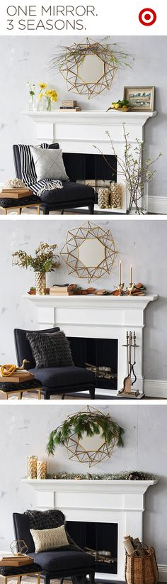 Your fireplace mantel craves seasonal versatility, and this Nate Berkus gold accented geo mirror is made for embellishment. Your living room showpiece awaits.