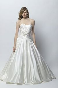 A-Line/Princess Sweetheart Court Train Satin with Flowers and Sashes Wedding Dresses Check this website for more details!  http://www.dolce2dolce.com/a-lineprincess-sweetheart-court-train-satin-with-flowers-and-sashes-wedding-dresses