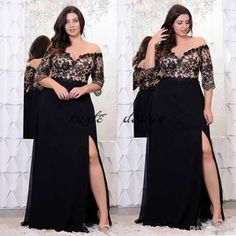 96e3e4940586 Black Lace Plus Size Prom Dresses With Half Sleeves Off The Shoulder V-Neck  Split Side Evening Gowns A-Line Chiffon Formal Dress