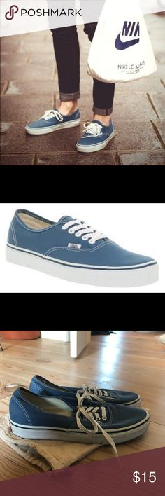 Men's Vans Authentic Navy shoes Vans The Authentic, Vans original and now iconic style, is a simple low top, lace-up with durable canvas upper, metal eyelets, Vans flag label and Vans original Waffle Outsole. Color is Navy and it's in great condition a worn once. Pet friendly home. Vans Shoes Sneakers