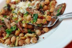 Warm chickpea salad w/ Brussels sprouts, bacon & mushrooms