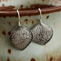 Silver Hydrangea Earrings Natural Impression from Real